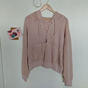 FP pink tie-neck sweater